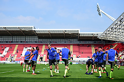 Bristol rovers warm up prior to kick off. - Mandatory by-line: Alex James/JMP - 21/04/2018 - FOOTBALL - Aesseal New York Stadium - Rotherham, England - Rotherham United v Bristol Rovers - Sky Bet League One