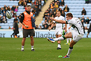 London Irish fly half Paddy Jackson (10) kicks for goal during the Gallagher Premiership Rugby match between Wasps and London Irish at the Ricoh Arena, Coventry, England on 20 October 2019.