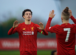 KIRKBY, ENGLAND - Wednesday, November 27, 2019: Liverpool's captain Curtis Jones (L) celebrates scoring the fourth goal during the UEFA Youth League Group E match between Liverpool FC Under-19's and SSC Napoli Under-19's at the Liverpool Academy. (Pic by David Rawcliffe/Propaganda)