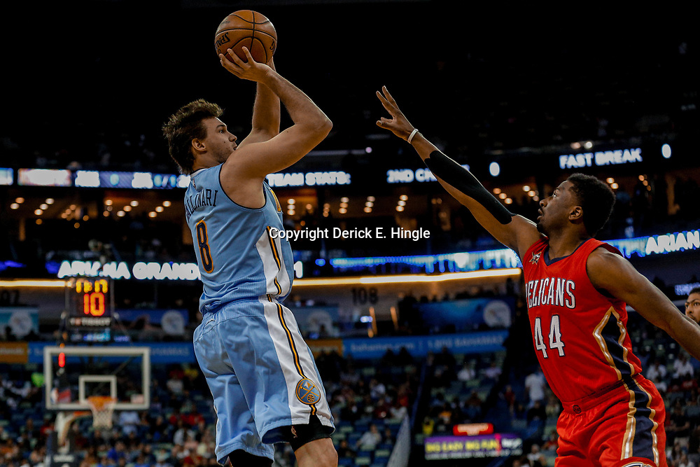 Apr 4, 2017; New Orleans, LA, USA; Denver Nuggets forward Danilo Gallinari (8) shoots over New Orleans Pelicans forward Solomon Hill (44) during the first quarter of a game at the Smoothie King Center. Mandatory Credit: Derick E. Hingle-USA TODAY Sports