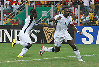 Photo: Steve Bond/Richard Lane Photography.<br />Ghana v Nigeria. Africa Cup of Nations. 03/02/2008. Michael Essien (L) turns to celebrate. John Mensah (R)
