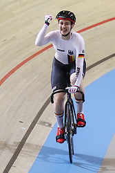 March 2, 2018 - Apeldoorn, Netherlands - Pauline Sophie Grabosch of Germany celebrates during the women's sprint during the UCI Track Cycling World Championships in Apeldoorn on March 2, 2018. (Credit Image: © Foto Olimpik/NurPhoto via ZUMA Press)