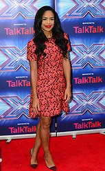 Image ©Licensed to i-Images Picture Agency. 27/08/2014. London, United Kingdom. Sarah-Jane Crawford arriving for the launch of the new series of The X Factor. Picture by Nils Jorgensen / i-Images