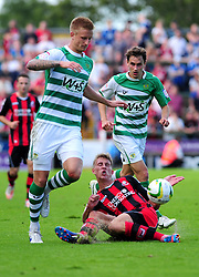 Bournemouth's Joe Partington challenge is avoided - Photo mandatory by-line: Dougie Allward/Josephmeredith.com  - Tel: Mobile:07966 386802 08/09/2012 - SPORT - FOOTBALL - League 1 -  Yeovil  - Huish Park -  Yeovil Town v AFC Bournemouth