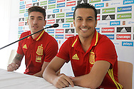 Hector Bellerin (left) with Pedro Rodriguez during a press conference at Aktivpark Montafon Stadion, Schruns<br /> Picture by EXPA Pictures/Focus Images Ltd 07814482222<br /> 28/05/2016<br /> ***UK &amp; IRELAND ONLY***<br /> EXPA-ESP-160530-0052.jpg