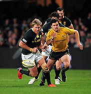 Jean de Villiers from South Africa and Adam Ashley-Cooper from Australia during the Tri Nations Test match between South Africa and Australia at the Kingspark Stadium in Durban on 13 Aug 2011..© Gerhard Steenkamp/Superimage