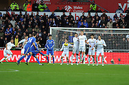 Chelsea's Eden Hazard (c) takes a free-kick. Barclays Premier league, Swansea city v Chelsea at the Liberty Stadium in Swansea, Swansea, South Wales on Saturday 3rd November 2012. pic by Andrew Orchard, Andrew Orchard sports photography,