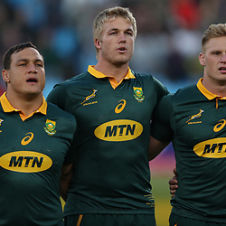 Coenie Oosthuizen with Pieter-Steph du Toit and Jean-Luc du Preez during the 1st test match between South Africa and France Loftus Versfeld stadium, Pretoria South Africa. 10th June 2017(Photo by Steve Haag Sports)