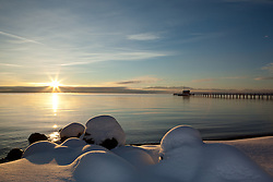 """Snowy Sunrise at Lake Tahoe 3"" - These snow covered boulders were photographed at sunrise on the shore of Commons Beach in Tahoe City, Lake Tahoe."