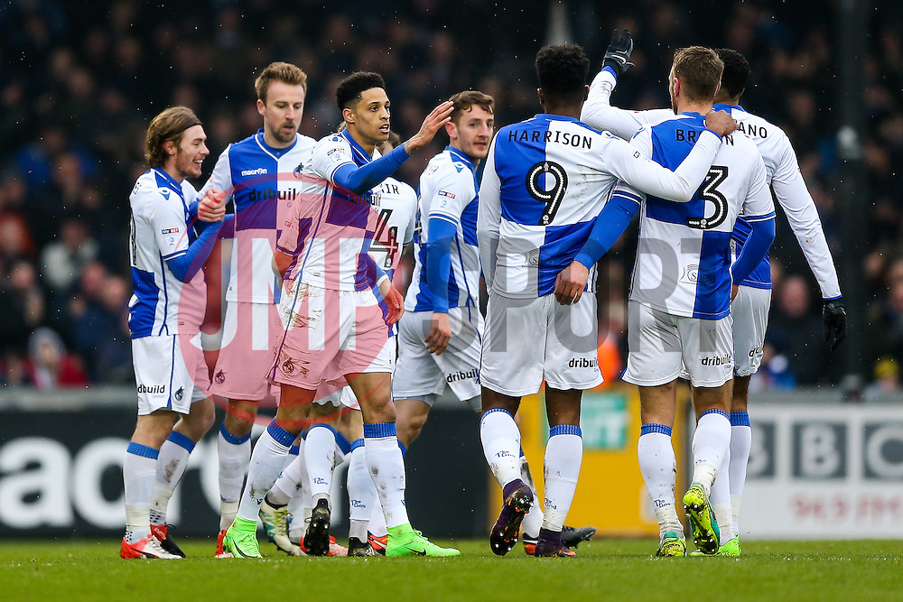 Chris Lines of Bristol Rovers celebrates with teammates after scoring a goal to make it 1-0 - Rogan Thomson/JMP - 11/02/2017 - FOOTBALL - Memorial Stadium - Bristol, England - Bristol Rovers v Bradford City - Sky Bet League One.