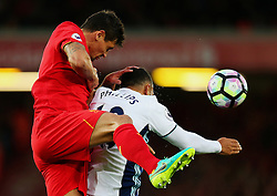 Dejan Lovren of Liverpool climbs to win a header above Matt Phillips of West Bromwich Albion - Mandatory by-line: Matt McNulty/JMP - 22/10/2016 - FOOTBALL - Anfield - Liverpool, England - Liverpool v West Bromwich Albion - Premier League