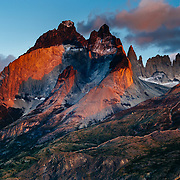 The first time Goodrich experienced Torres del Paine, he photographed with inspiration from nature photographer Art Wolfe. This is his first sunrise photo looking to Paine Grande on the left in clouds and Los Cuernos on the right in Torres del Paine National Park Located in southern Chilean Patagonia.