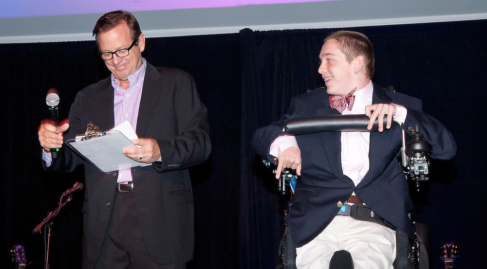 Co-Masters of Ceremony CEO and Co-Founder Houston Cowan and Challenge Aspen participant Archer Hadley.