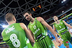 Mirza Begic #15 of Slovenia angry on Edo Muric #8 of Slovenia during basketball match between national team of Serbia and Slovenia at Eurobasket 2013 on September 19, 2013 in SRC Stozice, Ljubljana, Slovenia. (Photo By Matic Klansek Velej / Sportida.com)