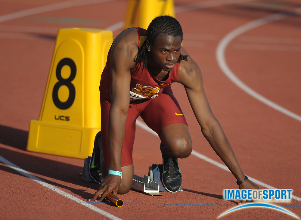 Mar 30, 2012; Austin, TX, USA; Aaron Brown of Southern California in the starting blocks of the 1,600m sprint medley relay in the 85th Clyde Littlefield Texas Relays at Mike A. Myers Stadium.