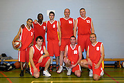 UK - Tuesday, Nov 18 2008:  A Sanghera (#7) , Keith Pringle (11), Mark Denchfield (#5), Dave Churches (#15), Jonny Lee (#12), Ants Rouhijainen (#6), Declan McCusker (#10) and Lee Atkinson (#8) after Barking and Dagenham Erkenwald Basketball Club's Essex Basketball League game against Brightlingsea Sledgehammers. Erks won the game 91 - 86. (Photo by Peter Horrell / http://www.peterhorrell.com)