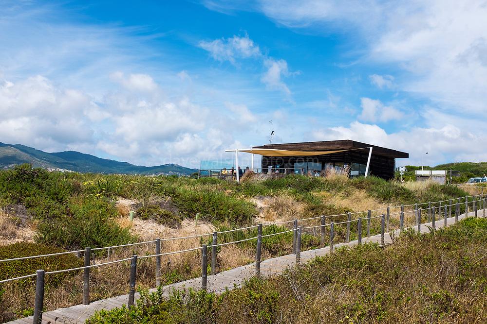 Visitors centre and cafe: Duna Da Cresmina,  sand dunes, Cascais, Lisbon, Portugal, part of the  Guincho-Cresmina dune system. Núcleo de Interpretação da Duna da Cresmina.