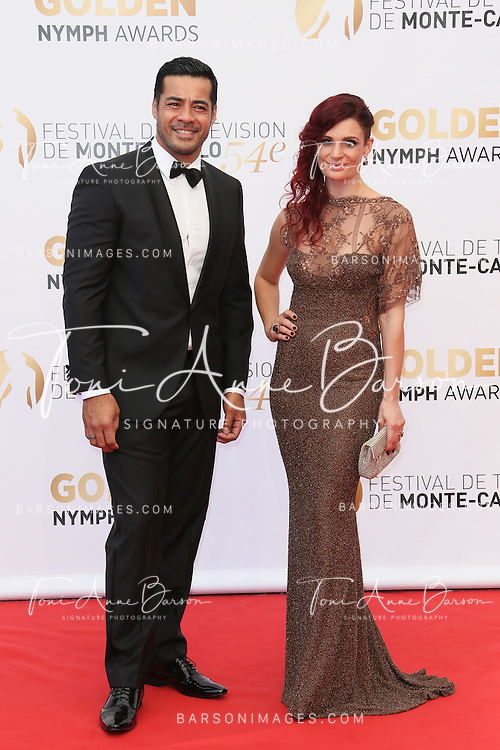 MONTE-CARLO, MONACO - JUNE 11: Robbie Magasiva and Danielle Cormack attend the Closing Ceremony and Golden Nymph Awards of the 54th Monte Carlo TV Festival on June 11, 2014 in Monte-Carlo, Monaco.  (Photo by Tony Barson/FilmMagic)