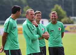 29.06.2015, Ernst-Lehner-Stadion, Augsburg, GER, 1. FBL, FC Augsburg, Trainigsauftakt, Laktat-Test, im Bild Trainergespann, gut gelaunt, vr: Markus Weinzierl (Trainer FC Augsburg), Wolfgang Beller (Co-Trainer FC Augsburg), Tobias Zellner (Co-Trainer FC Augsburg), Zdenko Miletic (Torwarttrainer FC Augsburg), // during a traning session of German 1st Bundeliga Club FC Augsburg at the Ernst-Lehner-Stadion in Augsburg, Germany on 2015/06/29. EXPA Pictures &copy; 2015, PhotoCredit: EXPA/ Eibner-Pressefoto/ Krieger<br /> <br /> *****ATTENTION - OUT of GER*****