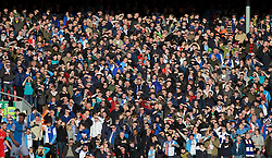 LIVERPOOL, ENGLAND - Sunday, March 8, 2015: Blackburn Rovers' supporters shield their eyes from the sunshine during the FA Cup 6th Round Quarter-Final match against Liverpool at Anfield. (Pic by David Rawcliffe/Propaganda)