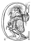 Initial letter 'C' (An old man with a beard astride an umbrella)