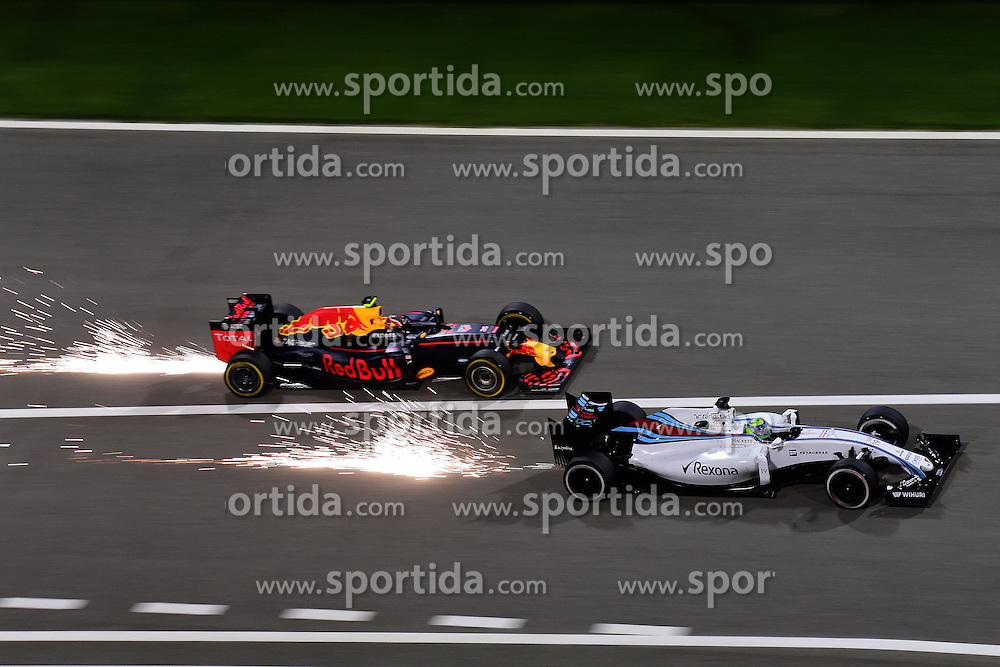 03.04.2016, International Circuit, Sakhir, BHR, FIA, Formel 1, Grand Prix von Bahrain, Rennen, im Bild Felipe Massa (BRA) Williams FW38 and Daniil Kvyat (RUS) Red Bull Racing RB12 battle // during Race for the FIA Formula One Grand Prix of Bahrain at the International Circuit in Sakhir, Bahrain on 2016/04/03. EXPA Pictures &copy; 2016, PhotoCredit: EXPA/ Sutton Images<br /> <br /> *****ATTENTION - for AUT, SLO, CRO, SRB, BIH, MAZ only*****
