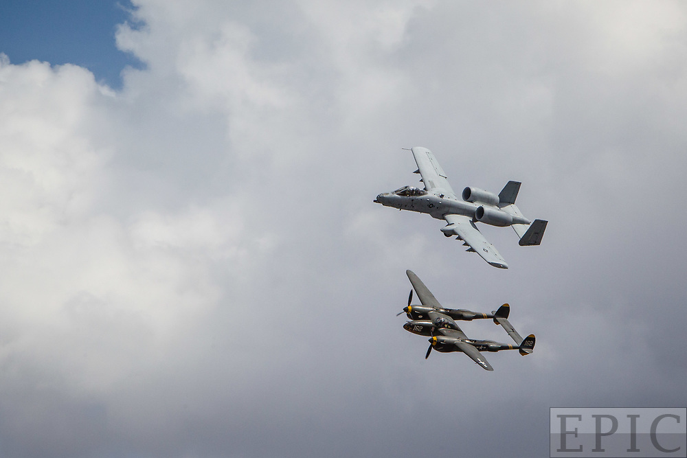RENO, NV - SEPTEMBER 14: An A-10 Thunderbolt II flies next to a WWII P-38 Lightening at the Reno Championship Air Races on September 14, 2017 in Reno, Nevada. (Photo by Jonathan Devich/Getty Images) *** Local Caption ***