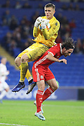 Wales midfielder Joe Allen challenges the Belarus goalkeeper during the Friendly match between Wales and Belarus at the Cardiff City Stadium, Cardiff, Wales on 9 September 2019.