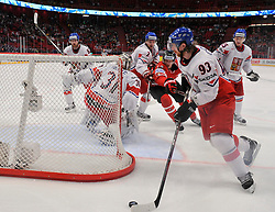 12.05.2013, Globe Arena, Stockholm, SWE, IIHF, Eishockey WM, Kanada vs Tschechische Republik, im Bild Czech Republic (Tjeckien) 31 Goalkeeper Ondrej Pavelec Canada Kanada 12 Eric Staal Czech Republic (Tjeckien) 93 Jakub Voracek Czech Republic (Tjeckien) 2 Zbynek Michalek // during the IIHF Icehockey World Championship Game between Canada and Czech Republic at the Ericsson Globe, Stockholm, Sweden on 2013/05/12. EXPA Pictures © 2013, PhotoCredit: EXPA/ PicAgency Skycam/ Simone Syversson..***** ATTENTION - OUT OF SWE *****