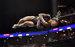Aug 11, 2019; Kansas City, MO, USA; Simone Biles performs her floor routine during the 2019 U.S. Gymnastics Championships at Sprint Center. Mandatory Credit: Denny Medley-USA TODAY Sports