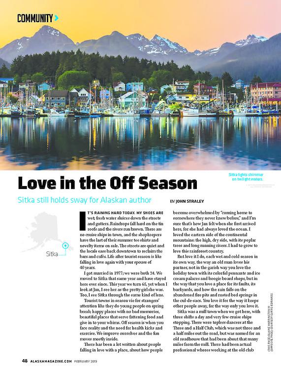 Sitka, Alaska in February 2019 issue of Alaska Magazine by photographer Blaine Harrington III.