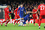 Chelsea midfielder Mateo Kovacic compete for the ball on the floor with Bayern Munich midfielder Thiago, Bayern Munich defender Joshua Kimmich and Chelsea midfielder Mason Mount during the Champions League match between Chelsea and Bayern Munich at Stamford Bridge, London, England on 25 February 2020.