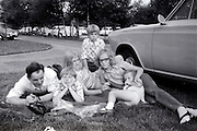 father with children on a day outing late 1960s