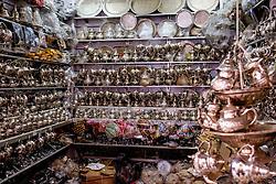 Silverware for sale in the Medina in Marrakech, Morocco, North Africa<br /> <br /> <br /> (c) Andrew Wilson | Edinburgh Elite media