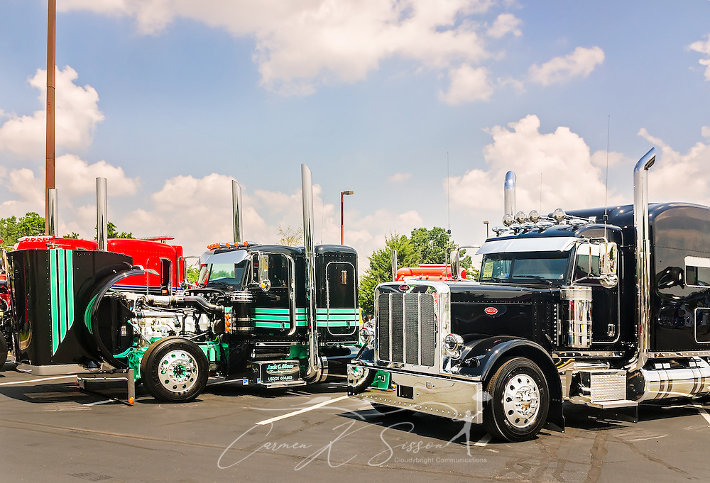 Big rigs wait to be judged at the 34th annual Shell Rotella SuperRigs truck beauty contest, June 11, 2016, in Joplin, Missouri. SuperRigs, organized by Shell Oil Company, is an annual beauty contest for working trucks. Approximately 89 trucks entered this year's competition. (Photo by Carmen K. Sisson/Cloudybright)