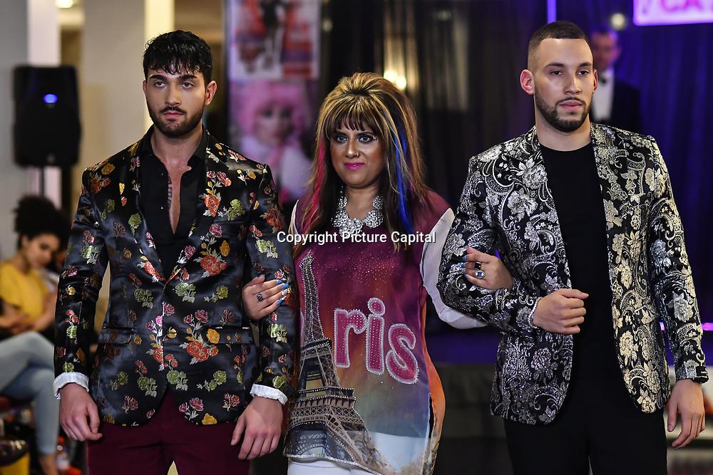 Samina Mughal showcases a set (Blazers) at SMGlobal Catwalk - London Fashion Week F/W19 at Clayton Crown Hotel,  Cricklewood Broadway, on 1st March 2019, London, UK.