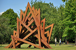"© Licensed to London News Pictures. 05/07/2017. London, UK. ""17 Acute Unequal Angles"", 2016, by Bernar Venet.  The Frieze Sculpture festival opens to the public in Regent's Park.  Featuring outdoor works by leading artists from around the world the sculptures are on display from 5 July to 8 October 2017.  Photo credit : Stephen Chung/LNP"