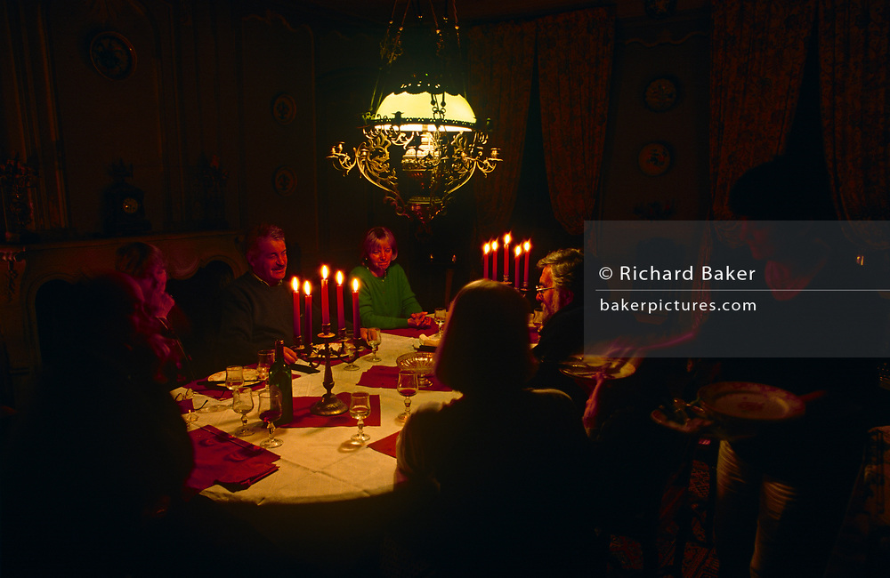 Evening dinner is served by candlelight in the Domaine de Rennebourg, a gite property in south-western rural France, on 15th October 1997, in Saint-Denis-du-Pin, Charente-Maritime, France