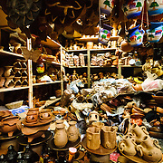 A pottery store inside the bustling Mercado Central in the center of Guatemala City near Parque Central.