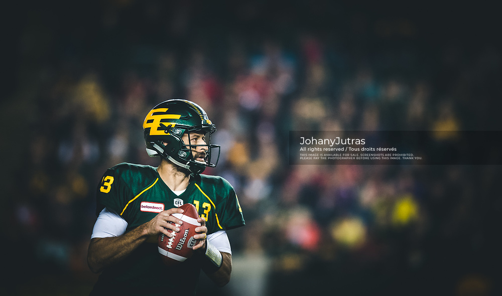 Mike Reilly (13) of the Edmonton Eskimos during the game against the Calgary Stampeders at Commonwealth Stadium in Edmonton AB, Saturday, September 9, 2017. (Photo: Johany Jutras)
