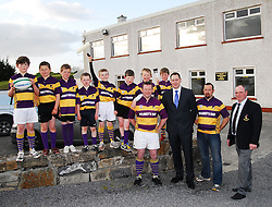 Gearing up for rugby club renovation work ..Ulster Bank's John Dempsey joining forces with members of Ballyhaunis Rugby Club including 1st's team captain Seamus Horan and club president Tony Henry and some of the underage members. ..Pic Conor McKeown