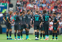 EDINBURGH, SCOTLAND - Sunday, July 28, 2019: Liverpool players have a group chat after going 2-0 down to Napoli during a pre-season friendly match between Liverpool FC and SSC Napoli at Murrayfield Stadium. (Pic by David Rawcliffe/Propaganda)