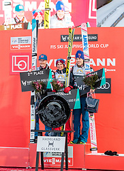18.03.2018, Vikersundbakken, Vikersund, NOR, FIS Weltcup Ski Sprung, Raw Air, Vikersund, Finale, im Bild Robert Johansson (NOR, 2. Platz), Gesamtsieger Kamil Stoch (POL), Andreas Stjernen (NOR, 3. Platz)// 2nd placed Robert Johansson of Norway, Overall Winner Kamil Stoch of Poland, 3rd placed Andreas Stjernen of Norway during the 4th Stage of the Raw Air Series of FIS Ski Jumping World Cup at the Vikersundbakken in Vikersund, Norway on 2018/03/18. EXPA Pictures © 2018, PhotoCredit: EXPA/ JFK