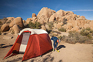 A man pounds stakes in to place to anchor his tent at a campsite in Joshua Tree National Park, California. http://www.gettyimages.com/detail/photo/putting-up-tent-at-campsite-joshua-tree-royalty-free-image/482867925