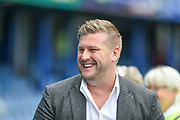Oxford United Manager, Karl Robinson is all smiles before kick off during the EFL Sky Bet League 1 match between Portsmouth and Oxford United at Fratton Park, Portsmouth, England on 18 August 2018.