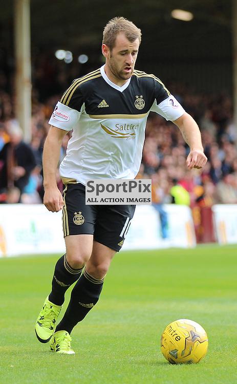 Motherwell v Aberdeen Scottish Premiership 15 August 2015; scorer of Aberdeen's first goal, Niall McGinn (Aberdeen 10) during the Motherwell v Aberdeen Scottish Premiership match played at Fir Park Stadium, Edinburgh; <br /> <br /> &copy; Chris McCluskie | SportPix.org.uk