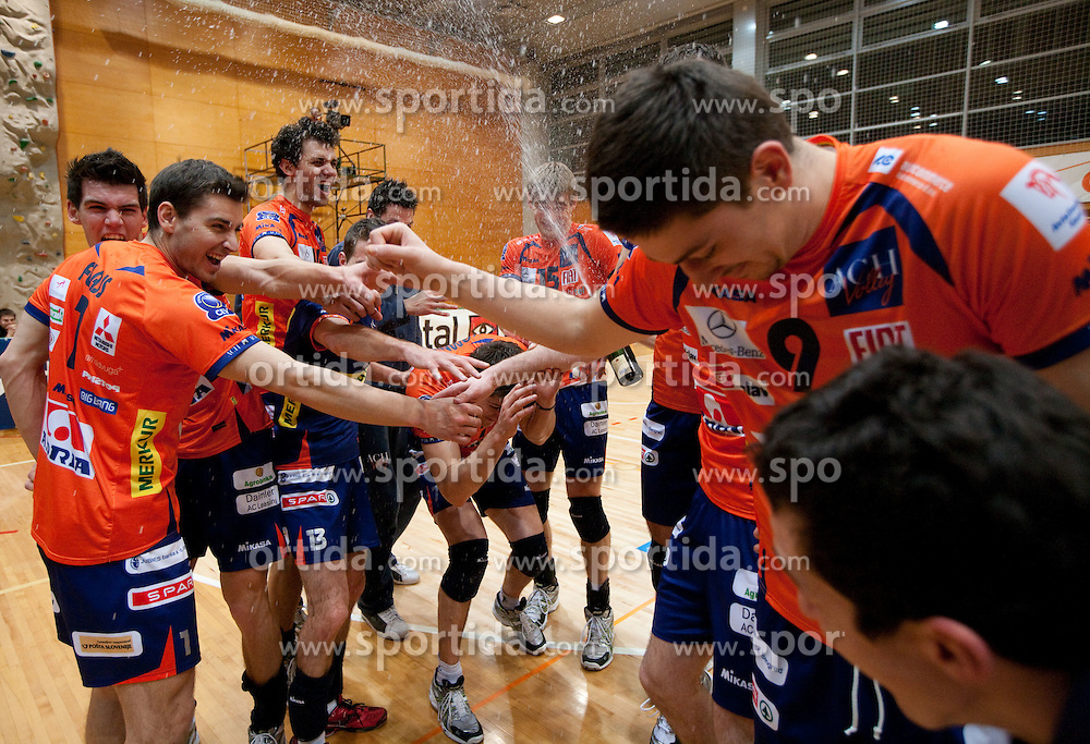 Andrej Flajs, Alen Sket, Matej Vidic, Dejan Vincic of ACH celebrate after the volleyball match between ACH Volley and UKO Kropa at Finals of Slovenian Cup 2010, on December 21, 2010 in Dvorana OS, Nova Gorica, Slovenia. ACH Volley defeated Kropa 3-0 and become Slovenian Cup Champion. (Photo By Vid Ponikvar / Sportida.com)