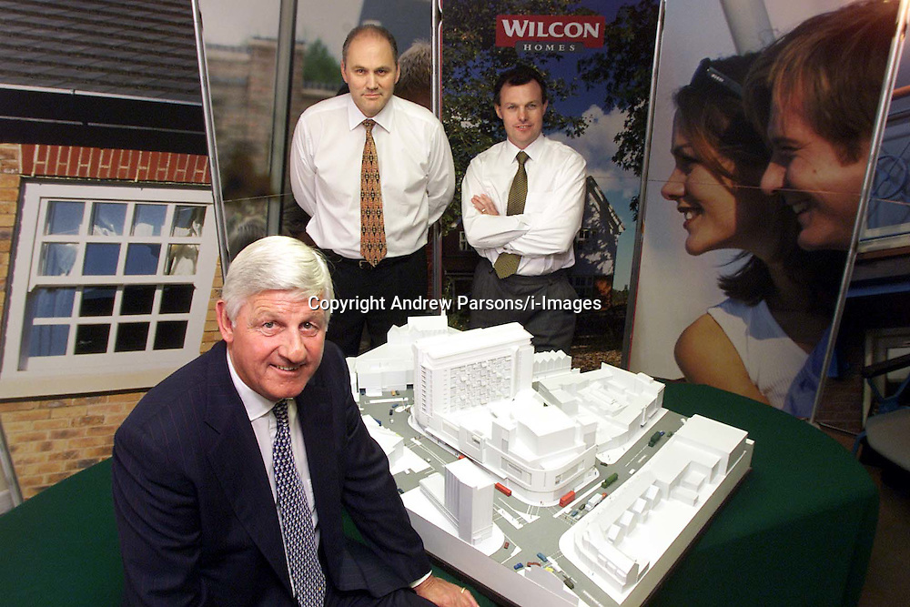 Wilson Connolly Holdings PLC. L to R: Lynn Wilson chairman, David Lawther F.D, John Tutte M.D, with a model of their development in the city. Photo by Andrew Parsons/i-Images.All Rights Reserved ©Andrew Parsons/i-images.See Instructions.