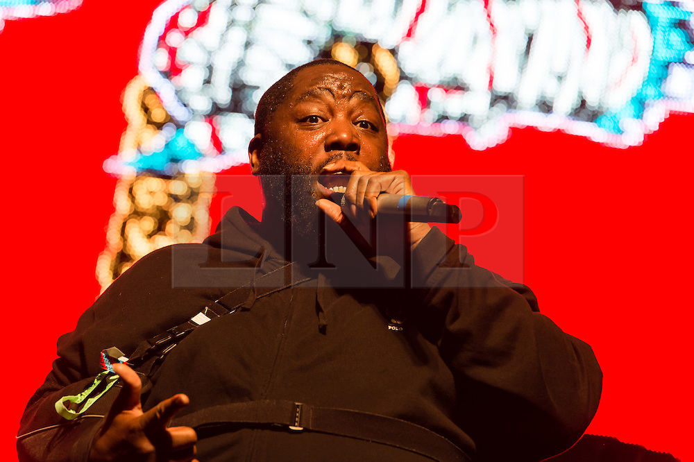 © Licensed to London News Pictures. 06/06/2015. London, UK.   Run the Jewels performing live at Field Day Festival Saturday Day 1.   In this picture - Killer Mike.  Run the Jewels is an American hip hop duo composed of  rapper/music producer El-P and rapper Killer Mike.  Photo credit : Richard Isaac/LNP