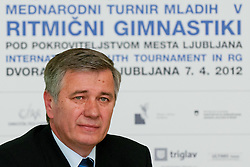 Ivan Levak at Press conference of 25th International tournament MTM Narodni dom, on April 3, 2012 at Unija racunovodska hisa d. d., Brezovica, Slovenia. (Photo By Matic Klansek Velej / Sportida.com)